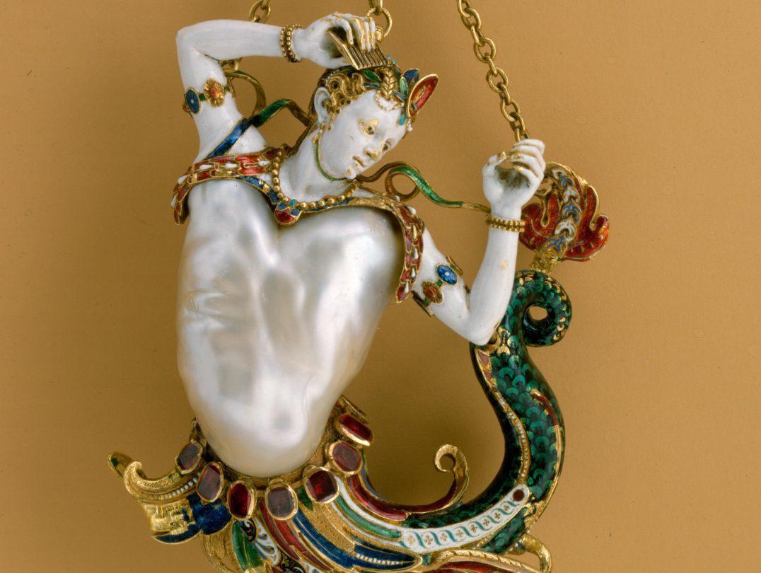 siren pendant, front - baroque pearl