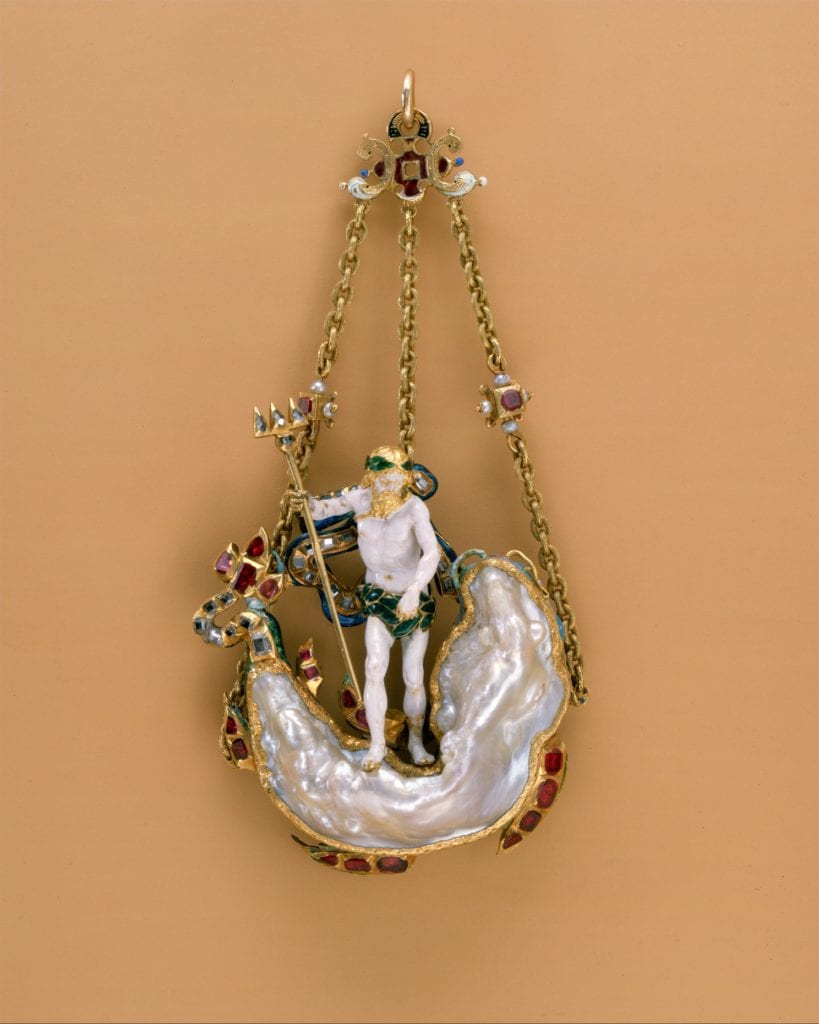 pendant - baroque pearl in the shape of a sea monster