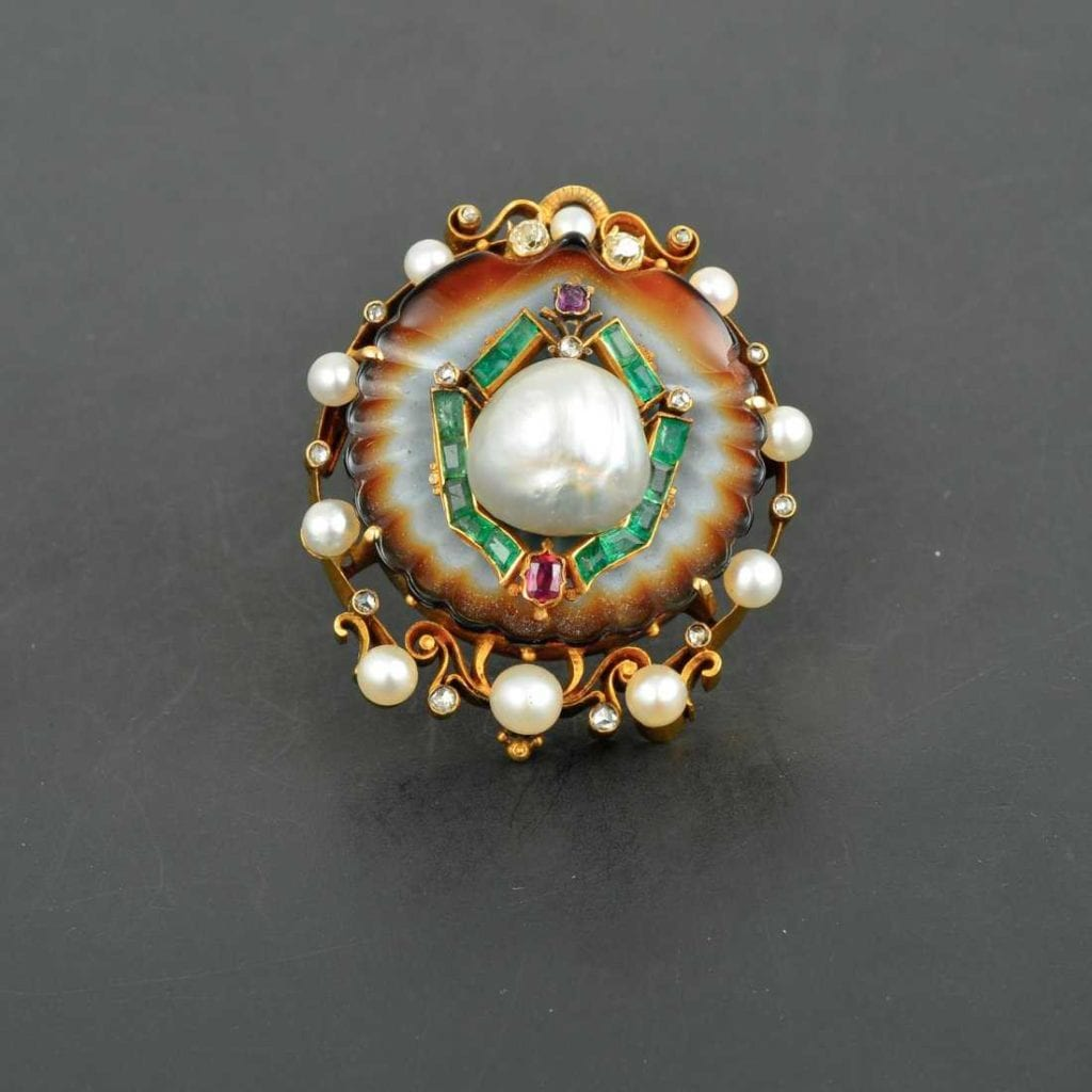 saltwater pearls - antique Victorian brooch