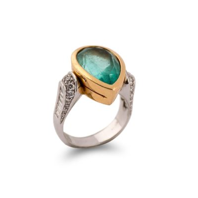ring with fracture-filled emerald
