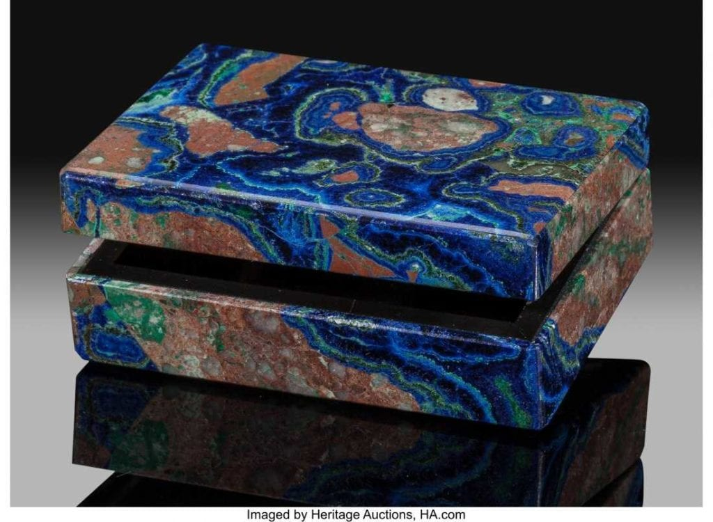 carved azurite jewelry box