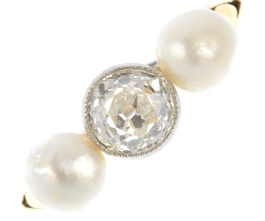 Diamond ring and saltwater pearls 1