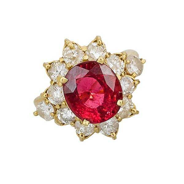rubellite and diamond gold ring