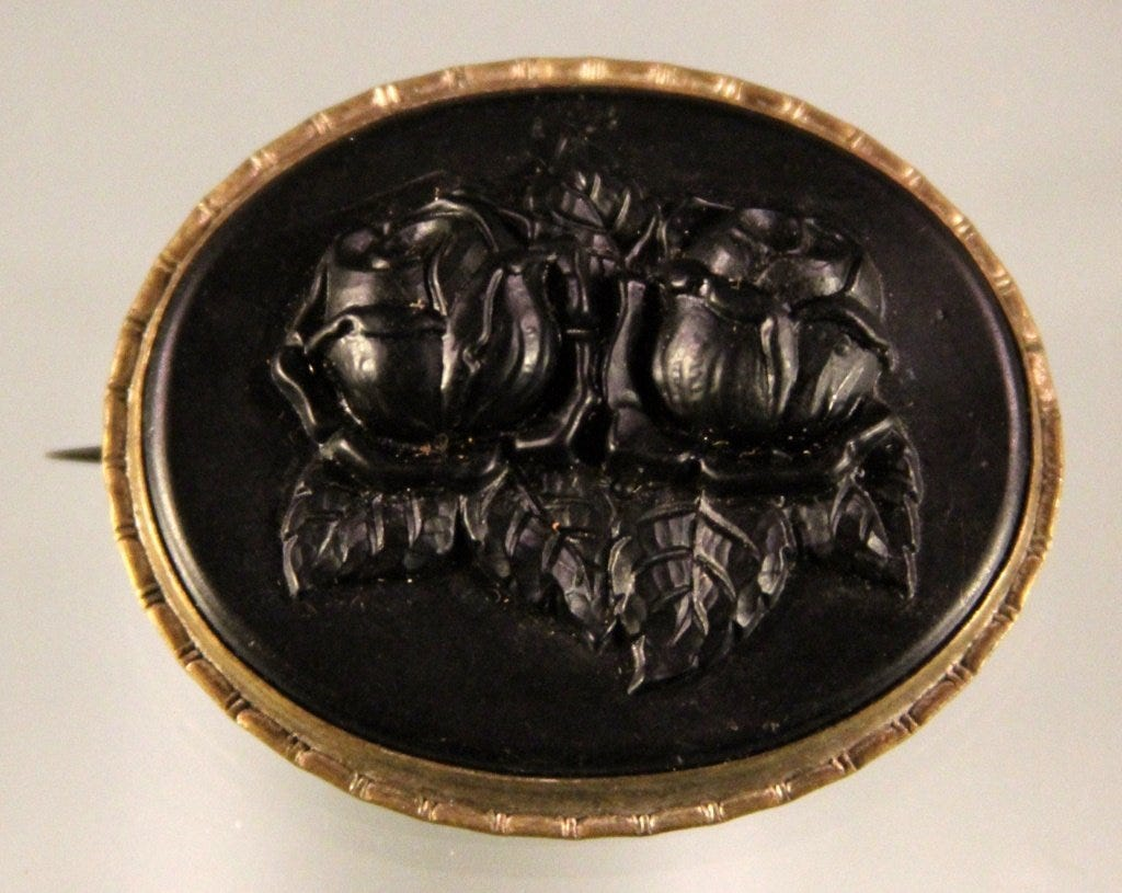 jet mourning brooch