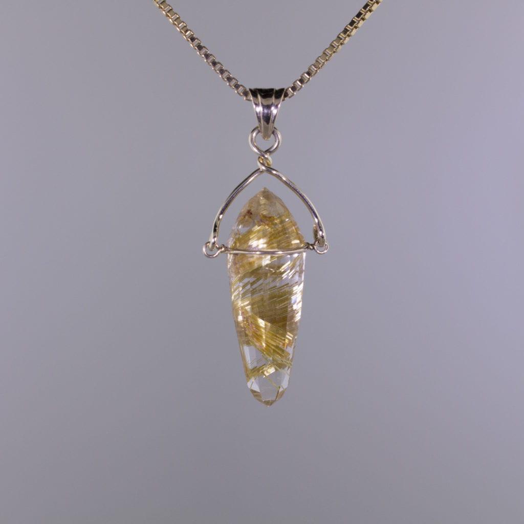 gemstone pendulum - gold rutile pendant