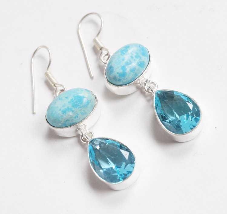 simulated Larimar and quartz earrings
