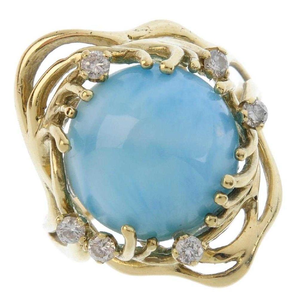 Larimar (pectolite) and diamond dress ring