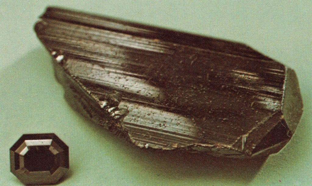 rutile - rough specimen and faceted gem