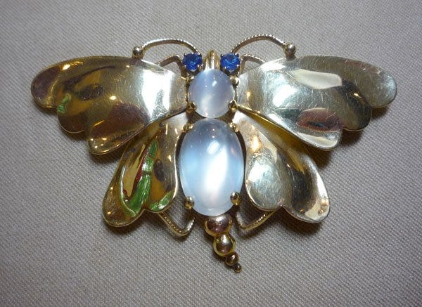 moonstone and sapphire moth brooch