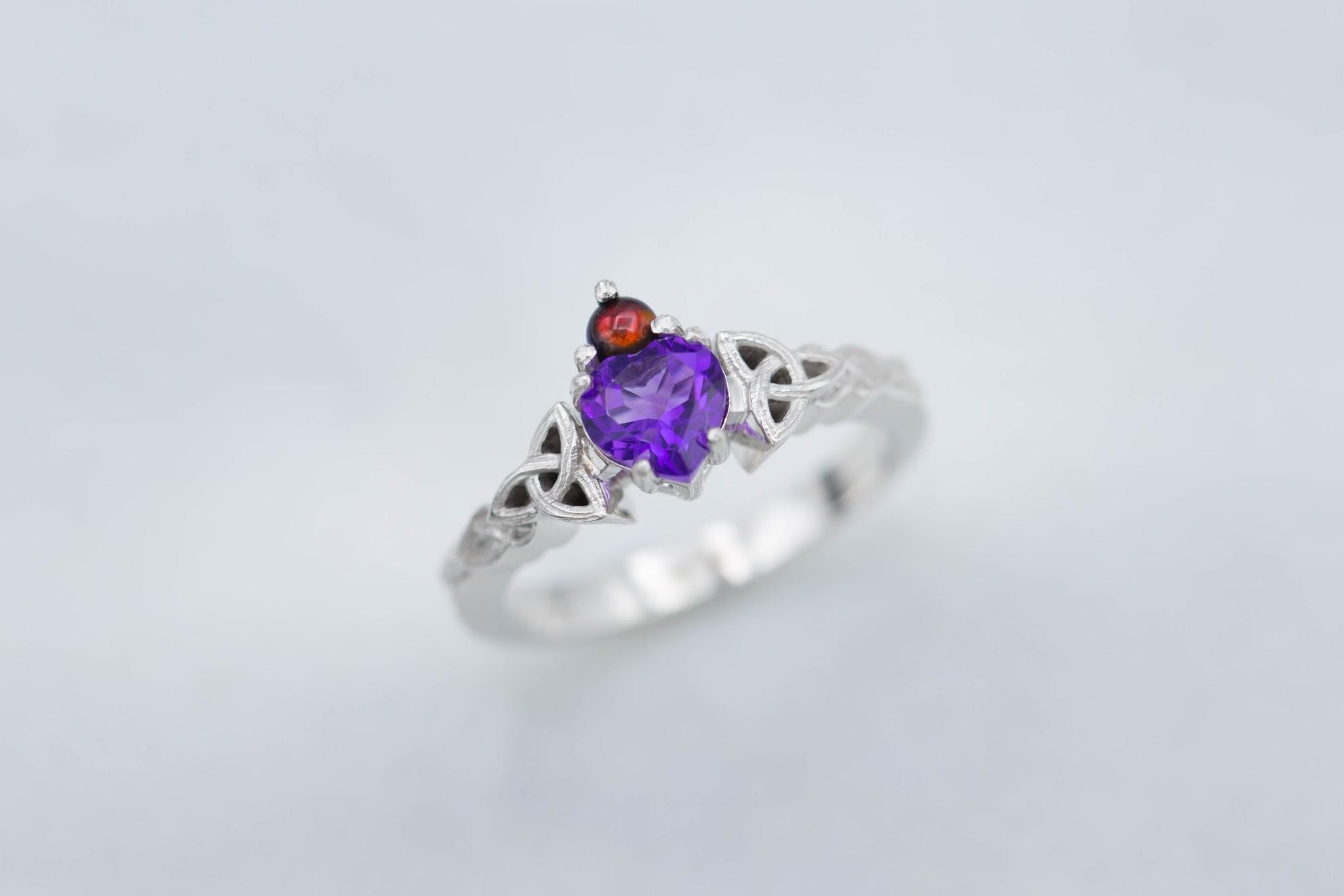 February Ring Silver Amethyst Ring Amethyst Birthstone Elegant Gifts Her Raw Amethyst Jewelry Raw Silver Jewelry Organic Silver Ring