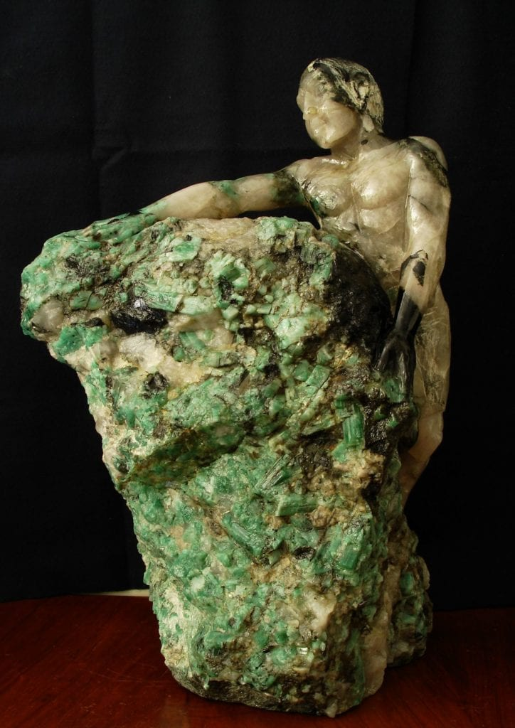 emerald and quartz sculpture - emerald symbolism