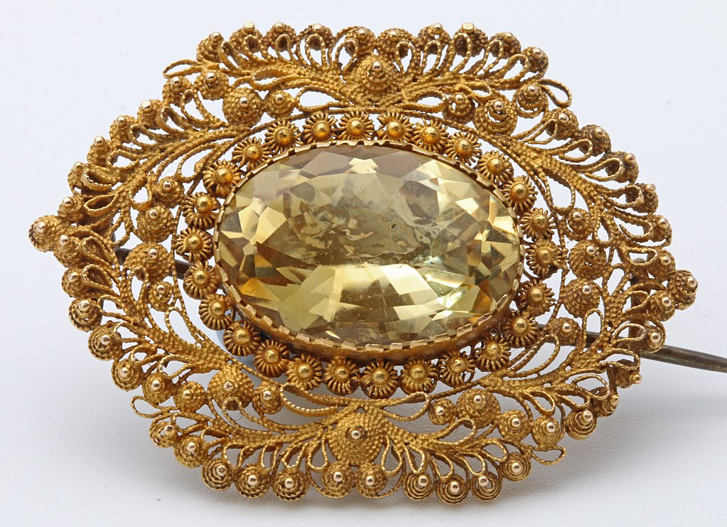 19th century citrine brooch