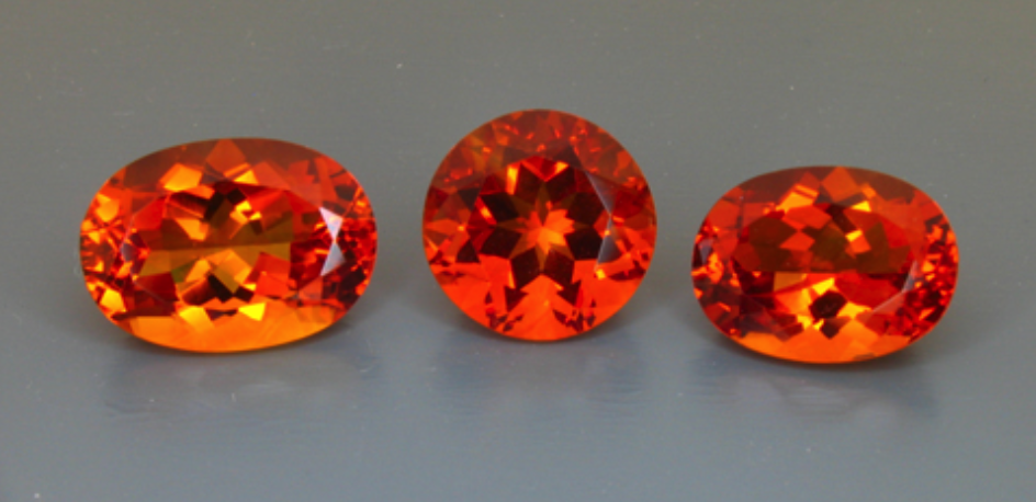 red-orange faceted citrine gems