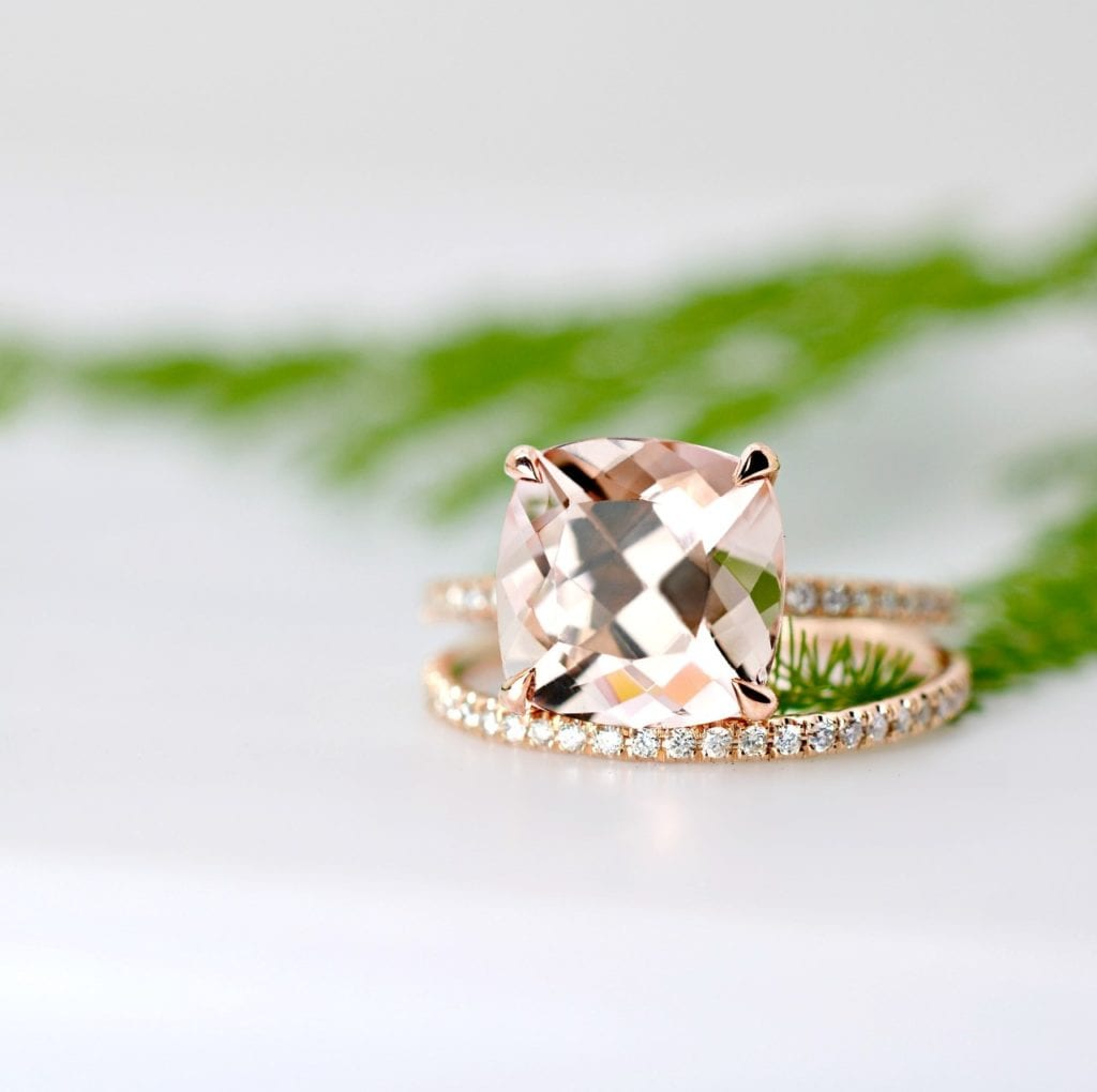morganite buying guide - cushion-cut morganite ring