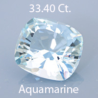 Barion Cushion Cut Aquamarine, Unknown, 22.15 cts