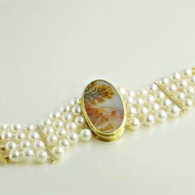 agate buying - dendritic agate bracelet with pearls