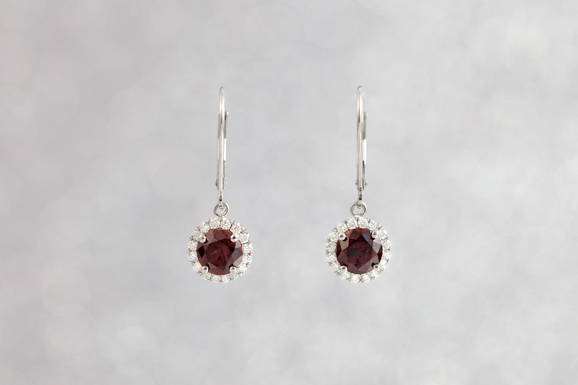 gold tw garnet rhodolite with earrings rose diamond in rhodelite halo