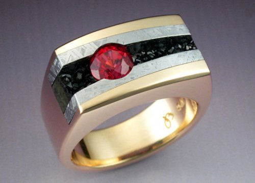 garnet buying - ring with red spinel, melanite, meteorite