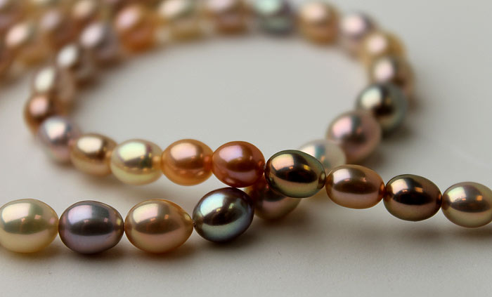 Pearl - Multi-colored strand of freshwater pearls