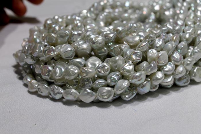 Silver Keshi pearls