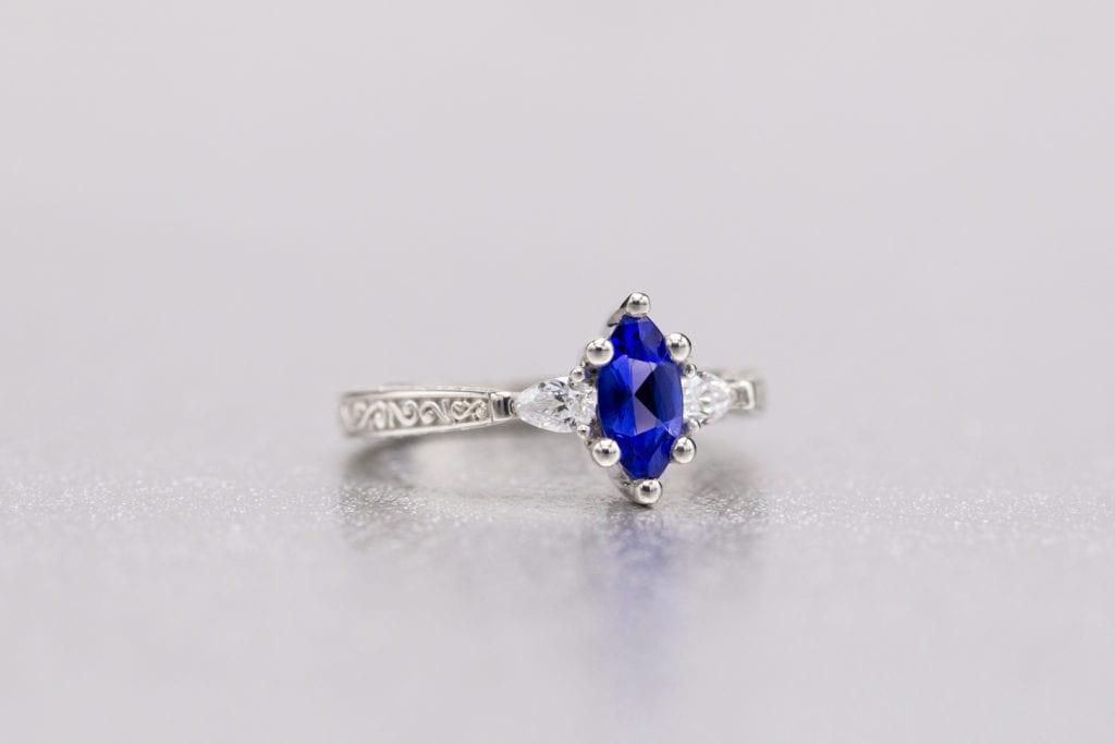 tanzanite buying - ring with deep blue gem