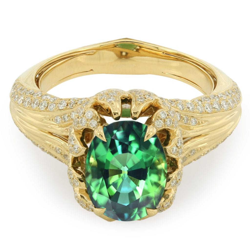 tanzanite buying - fancy color green ring
