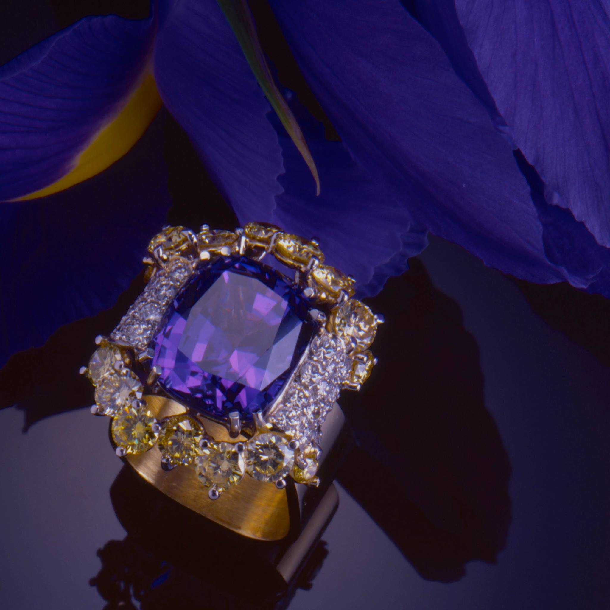 gold in ring and double diamond bypass princess tanzinate tanzanite white cut