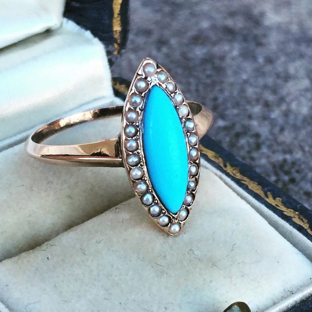 turquoise buying - navette ring with pearls