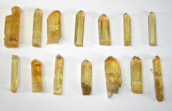 rough topaz crystals - standard brilliant cut