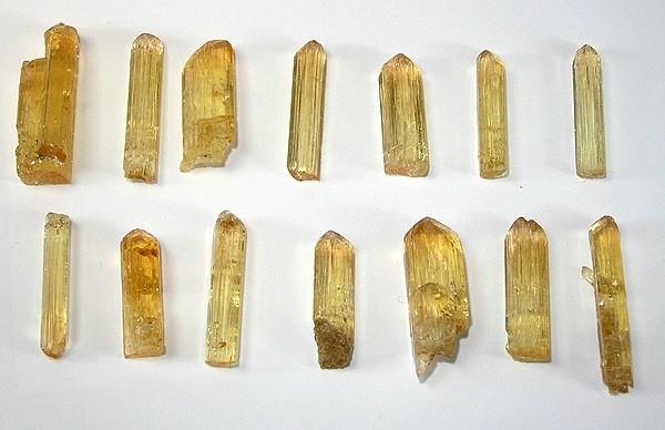 rough topaz crystals - standard brilliant cut