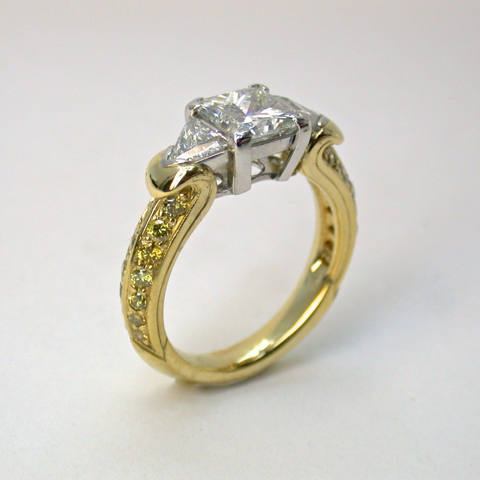 diamond gold square yellow ring products womens canary cttw round cluster white
