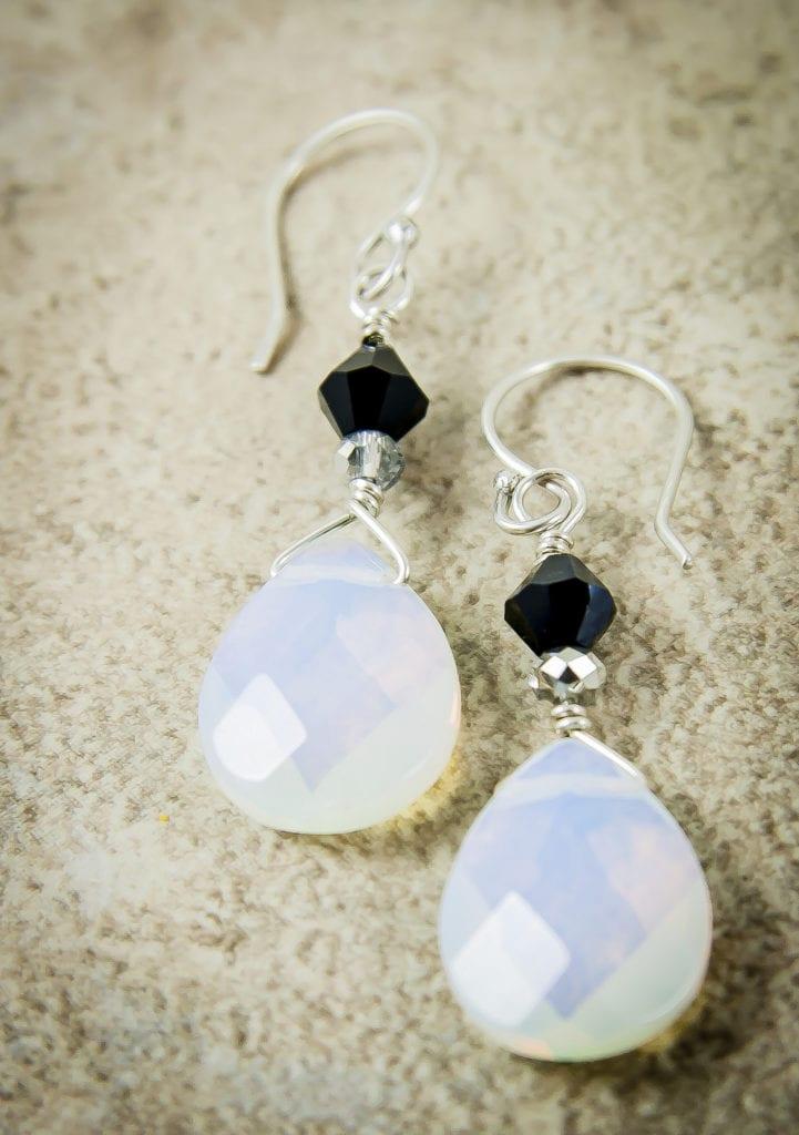 moonstone buying - opalite earrings