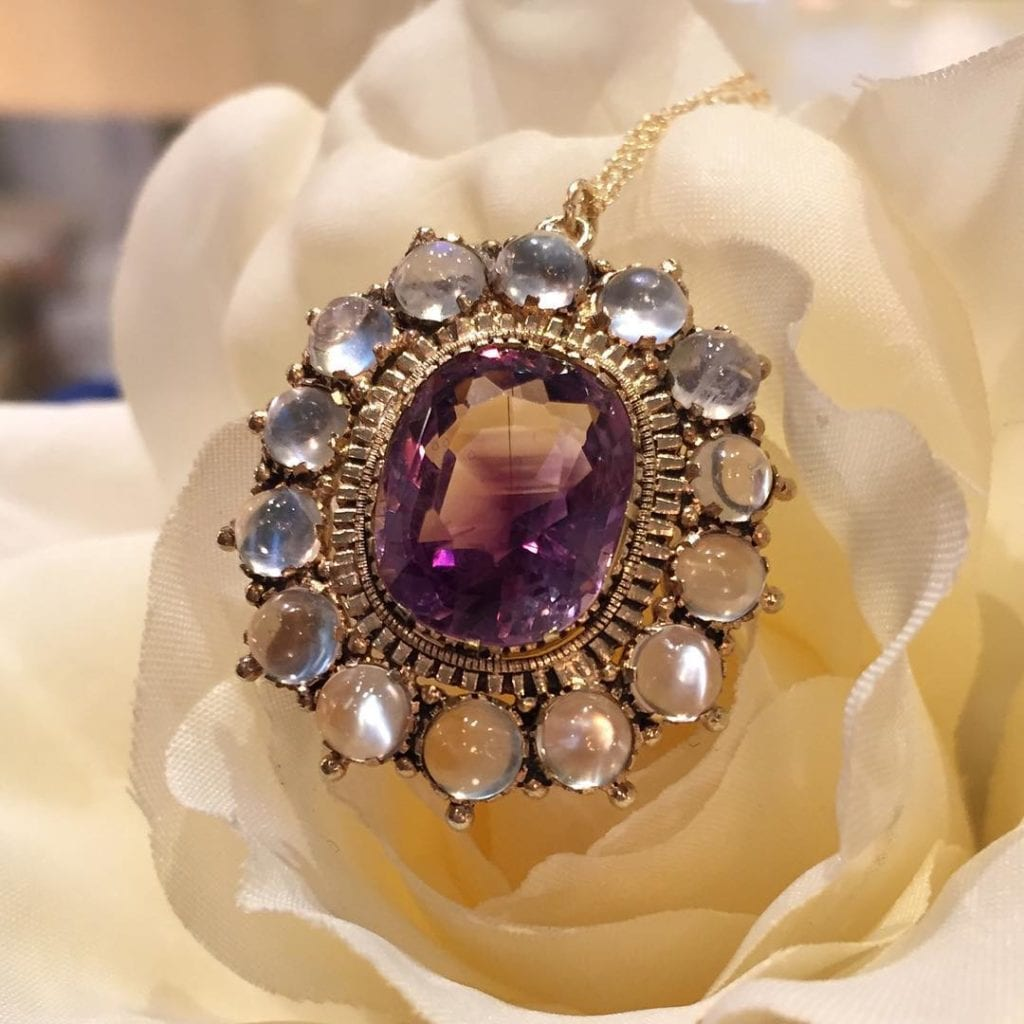 moonstone buying - victorian amethyst and moonstone pendant