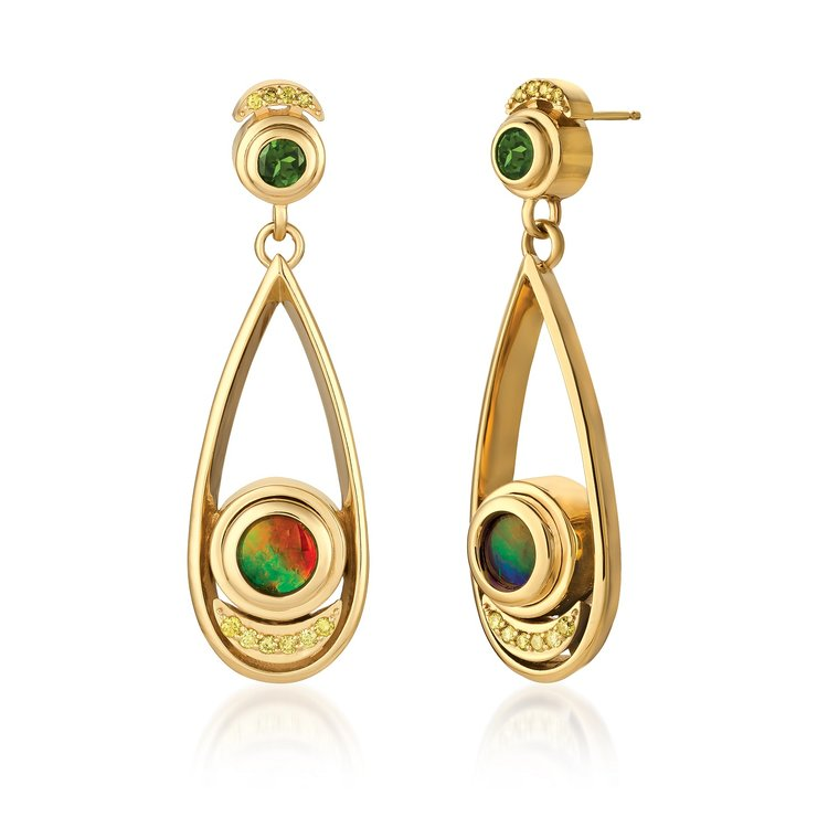 tourmaline buying - Eclipse earrings with chrome tourmaline posts, canary diamond, ammolite