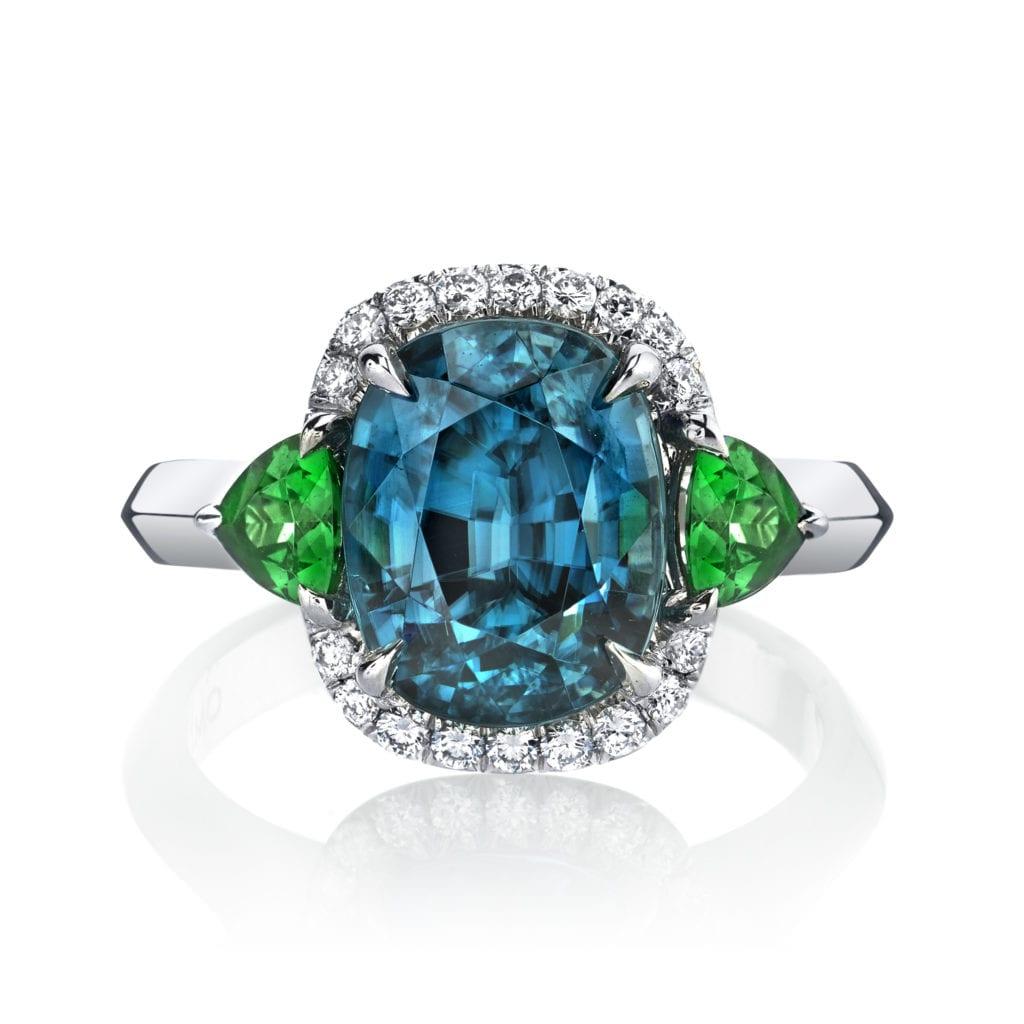 zircon buying - blue zircon and tsavorite ring