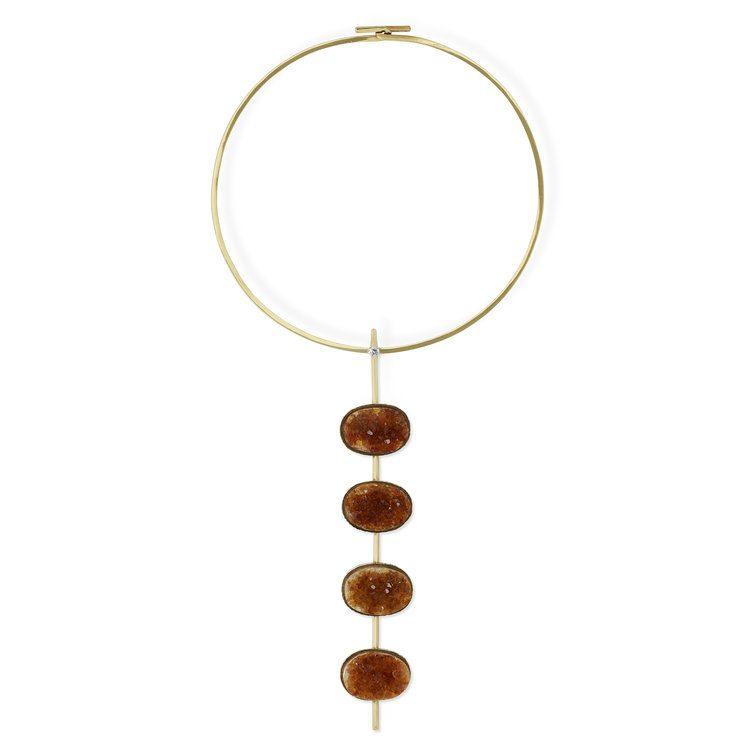 citrine buying - geode necklace
