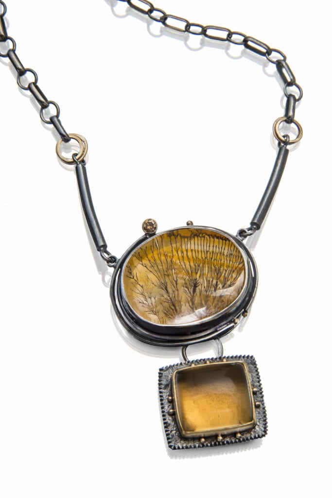 crystalline quartz buying - dendritic quartz and citrine necklace