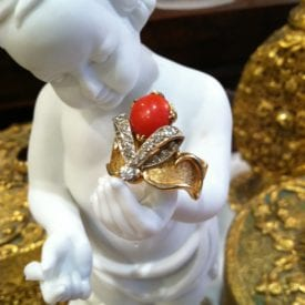 precious coral buying - Red coral and diamond