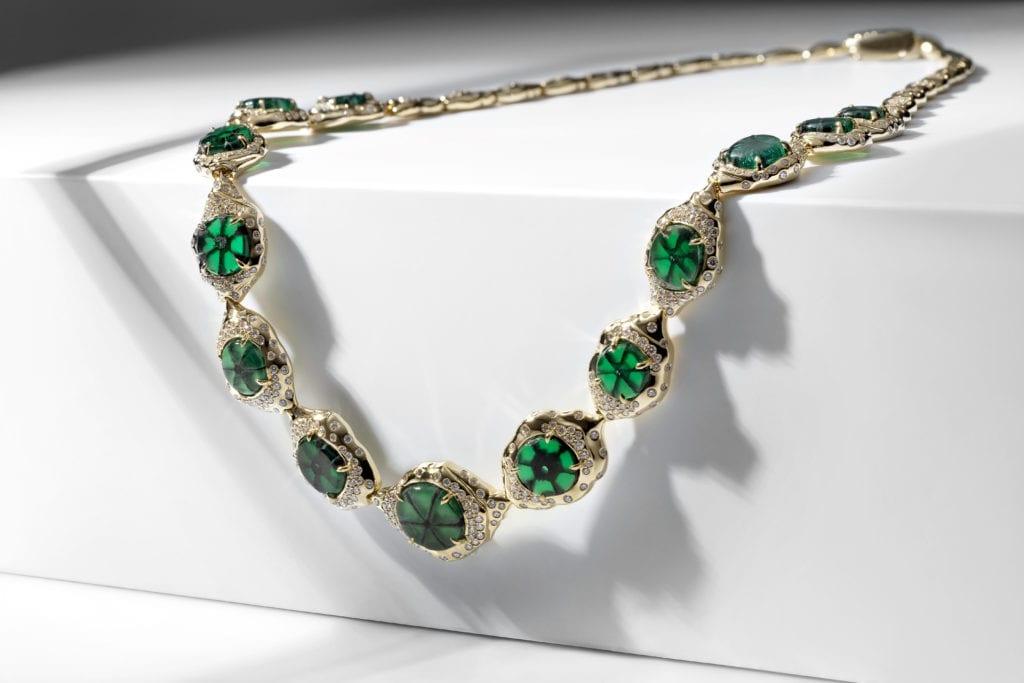 trapiche gems - trapiche emerald necklace