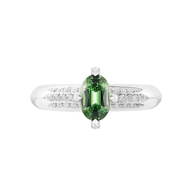 Demantoid garnet buying guide - 0.73 ct Russian Demantoid and diamond ring