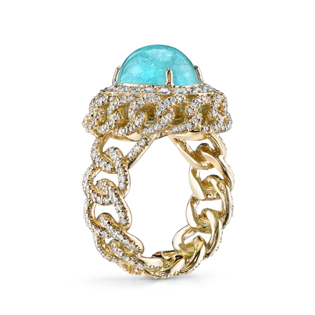 paraíba tourmaline buying guide - Chain Ring (Brazilian Paraiba)- Side