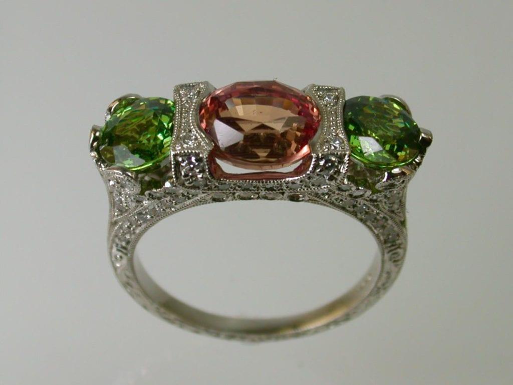 demantoid garnet buying guide - padparadscha and demantoid ring