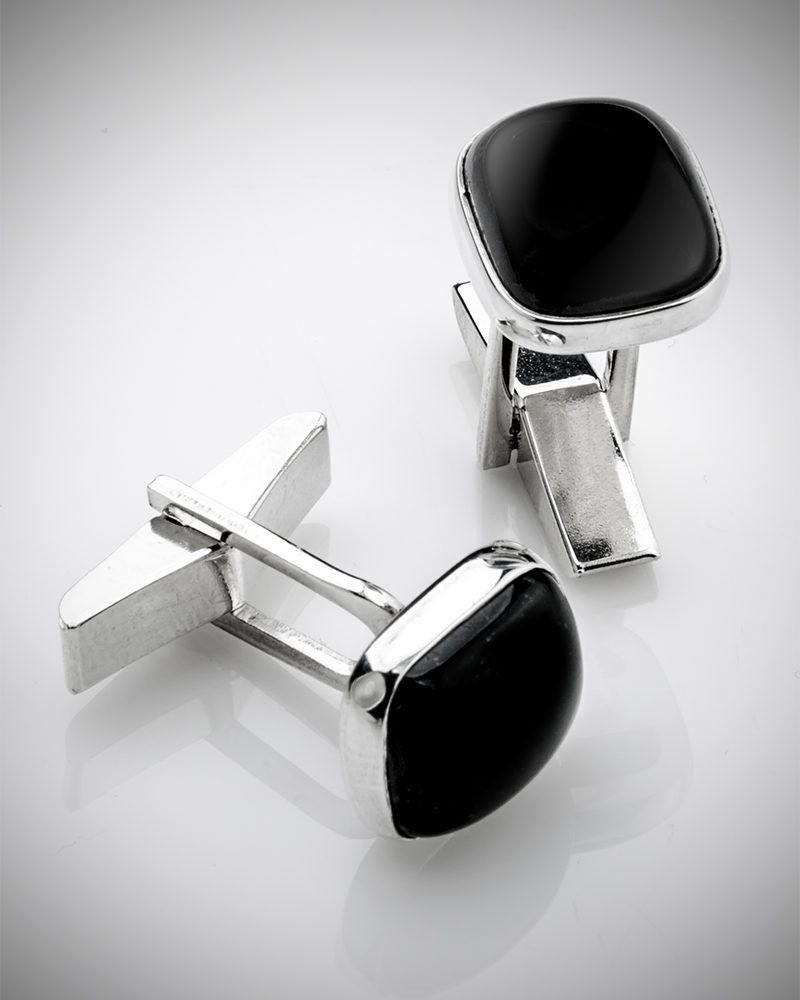 gems in cufflinks - black jade cufflinks