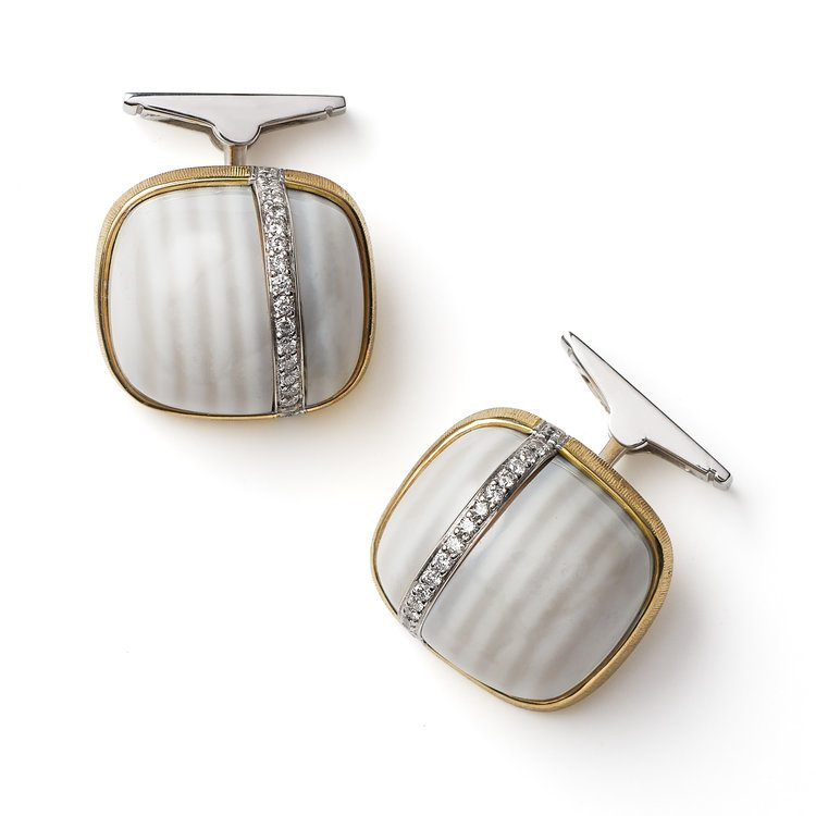 gems in cufflinks - chalcedony and diamond cufflinks