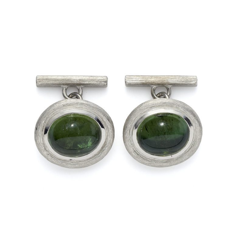 gems in cufflinks - green tourmaline cufflinks