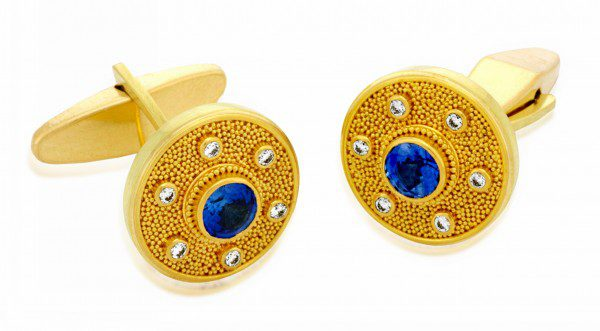 gems in cufflinks - sapphire and diamond