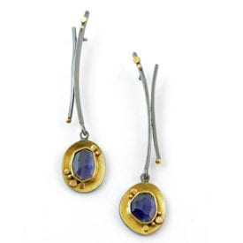 iolite buying guide - rose cut iolite earrings