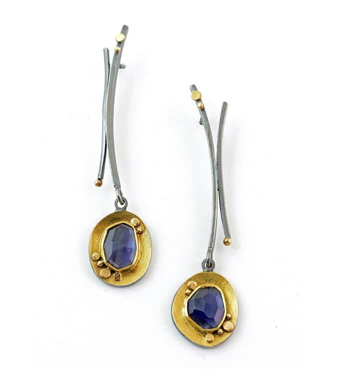 iolite buying guide - rose cut iolite earrings