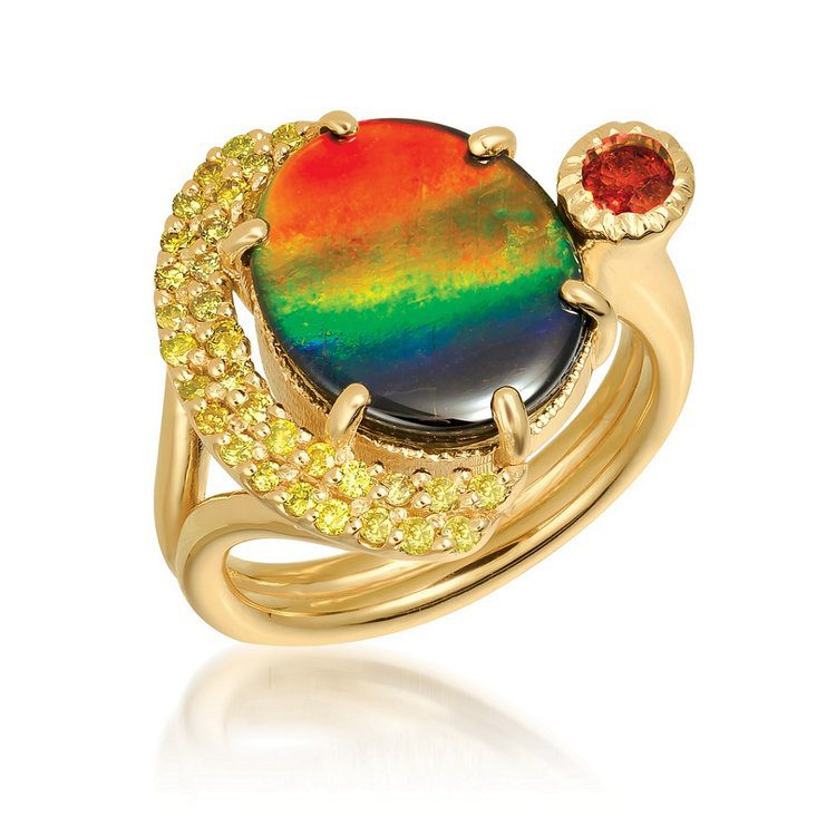 ammolite buying guide - sunrise ring