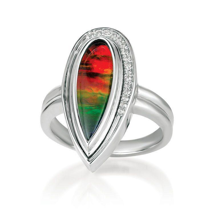 ammolite buying guide - tear drop ring
